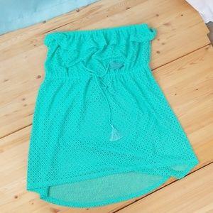OP green hi-lo crochet bathing suit cover up